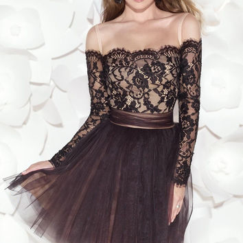 Dressgirl Black Cocktail Dresses 2017 A-line Long Sleeves Tulle Lace Open Back Bow Sexy Short Mini Homecoming Dresses