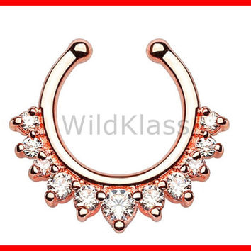 Rose Gold Single Line with Multi Gems Non-Piercing Septum Hanger Fake Septum Ring Faux Nose Ring Rose Gold Pink Aqua Clear Sold by Piece