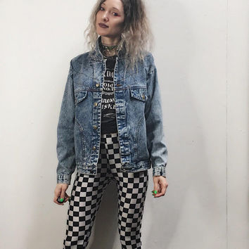 80s 90s Oversized Acid Wash Denim Jacket - Jean Jacket - Unisex - Studio 54 - 90s Clothing - Soft Grunge - Spring Coat - Slouchy Size Medium