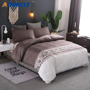 ADQKCLY Modern Elegant 2/3pcs Bedding Set Brown Color Microfiber Printed Quilt Comforter Cover with Pillowcase Set 7 sizes