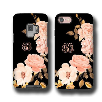 iPhone x Samsung Galaxy S9 Blush Golden Roses monogrammed iPhone 8 Plus Case iPhone 7 Galaxy Note 8 Galaxy S7 Personalized Galaxy S8