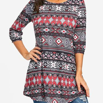 Tribal Print Swing Tunic T-shirt