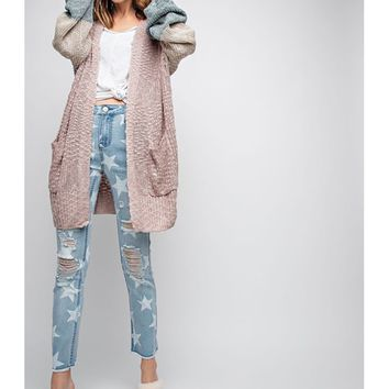 Women Color Block Open Knitted Sweater Cardigan