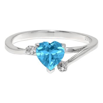 1.00 Ct Heart Natural Blue Topaz and White Topaz 925 Sterling Silver Ring