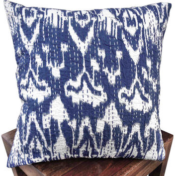 Indigo blue ikat kantha cushion cover , indian cushion, cotton cushion ,handmade cushion ,kantha pillow,sofa couch