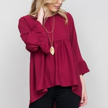 Belle Babydoll Blouse - Burgundy
