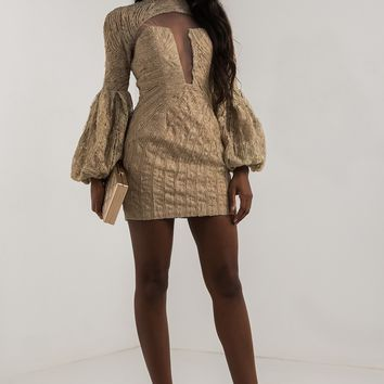 AMMO X AKIRA High Neck Mesh Front Long Flared Sleeve Lace Beaded Mini Dress in Taupe, Black