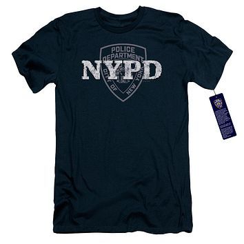 NYPD Slim Fit T-Shirt New York Police Dept Logo Navy Blue Tee