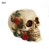 BUF Resin Craft Statues For Decoration Skull Creative Skull Statue Sculpture Home Decoration Accessories Halloween Decoration