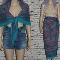 Turkish Scarf Large Square Shaw Wrap Maxi Skirt Cover Up Sarong floral paisley 70's boho festival hipster gypsy 60s purple turquoise