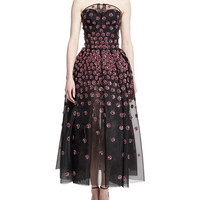 Zac Posen Daisy-Embroidered Strapless Tea-Length Gown, Pink/Gray