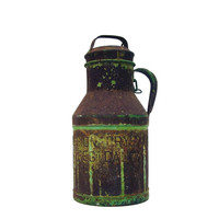 Antique Milk Can Rustic Metal Milk Jug with lid Vintage Primitive Farmhouse Decor Verdigris Patina Mint Green Paint