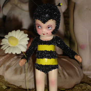 Bumblebee Flapper Doll Vintage Bisque Altered Art Doll