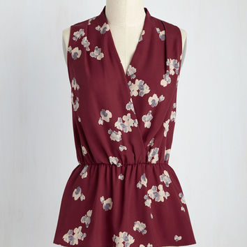 Great Gal in the Corner Office Sleeveless Top in Maroon Bloom | Mod Retro Vintage Short Sleeve Shirts | ModCloth.com