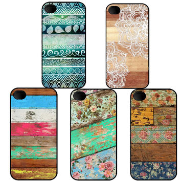 Wooden American flag Paisley flower mandala henna hardcover plastic Phone Cover For iPhone 4 4s SE 5 5s 5 c 6 6s 6plus 7 7Plus