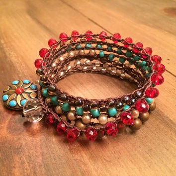 Crochet Bracelet, Wrap Bracelet, Necklace, Gold, Turquoise, Red, Glass Beads, Glass Pearls, Metal Beads, Boho Bracelet
