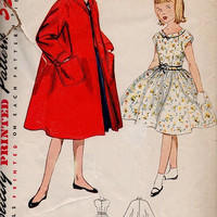 Simplicity 50s Sewing Pattern Girl's Swing Dress Duster Coat Full Circle Skirt Tea Dress Kimono Sleeve Jacket Size 10