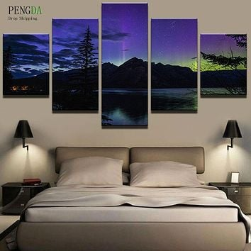 PENGDA Canvas Painting Style Wall Pictures For Living Room Wall Art Frames 5 Panel Beautiful Landscape Moder Decor Paintings