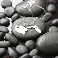 SALE - Long Distance Love Gift-Two States Necklace-Double State -Going Away Gift - Best Friend - Friendship Necklace - Sterling Silver State