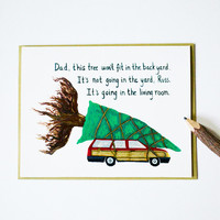 National Lampoon's Christmas Vacation cards (set of 4) clark griswold car tree