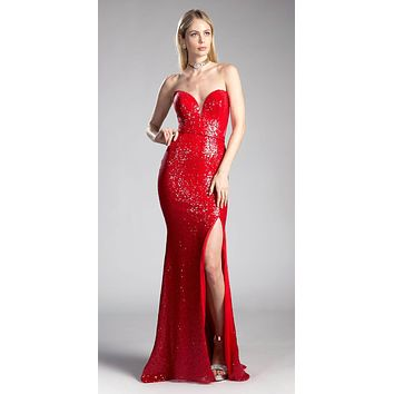 Sequins Red Strapless Evening Gown Sweetheart Neckline with Slit