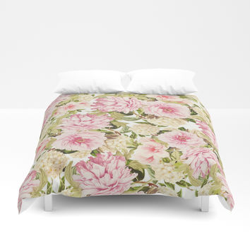 vintage peonies and hydrangeas Duvet Cover by sylviacookphotography
