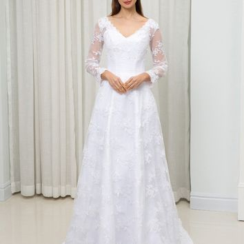 C.V Long Sleeve Elegant Wedding Dress A line Vestido De Noiva Plus Size Appliques Mariage wedding dress 2018 Robe De Marie W0046