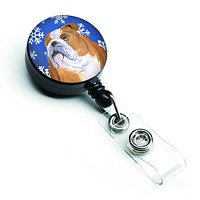 Bulldog English Winter Snowflakes Holiday Retractable Badge Reel SS4629BR