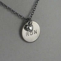 RUN LOVE Necklace - Running Necklace - on 18 inch gunmetal chain - Running Jewelry - Run Necklace - 10K Running