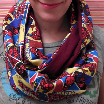 Spiderman Infinity Scarf, Marvel Comics Neckwear, Red Maroon, Woman Teen Pre-teen Girl, Amazing Spider Man