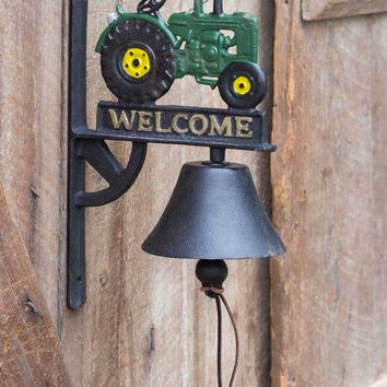 Cast Iron Welcome Bell with Tractor