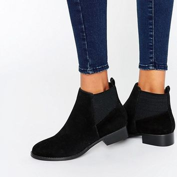 Miss KG Flat Ankle Boot With Elastic Back at asos.com