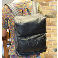 Vintage Men's Black Laptop Bag Leather Backpack Travel Bag