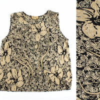 Abstract Floral Tank Shirt Champagne Pleated Paisley Print / Vintage 80s 90s