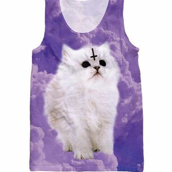 Satan Cat All Over Full Print 3D Diy Sublimated Polyester Blend Unisex Tank Top
