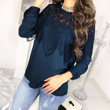 DeRuiLaDy 2018 Autumn Women Long Sleeve Blouse Shirt Sexy O Neck Button Lace Shirts Top Winter Casual Womens Tops And Blouses