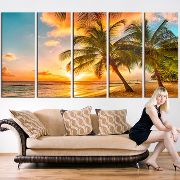 Wall Art Canvas - Beach and Sunset on Ocean Canvas Print, Seascape Canvas Print, Large Wall Art Print, Sunset and Ocean Beach Canvas Print