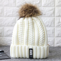 Letter B Casual Beanies Women Winter Hats Crochet Knitting Wool Cap Fur Pompons Ball Warm Gorros Outdoor Brand Thick Female Cap