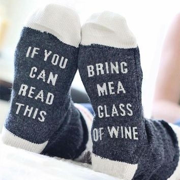 Funny Socks Letter Printed If You Can Read This Bring Me A Glass Of Wine Socks For Women Men Stylish Splicing Socks 3 Colors