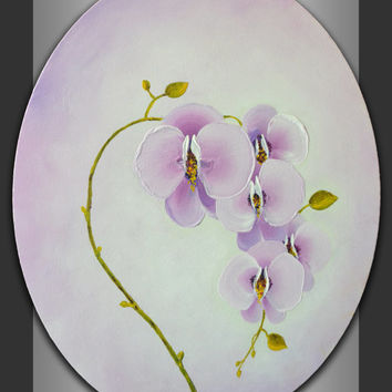 Soft lavender pink and white shades abstract orchid flowers branch acrylic painting hottest hues of Spring Summer 2014 interior wall decor