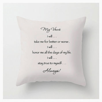 Vows Throw Pillow Cover, 16x16, 18x18, 20x20, Typography Décor, Love, Motivational, Decorative, Home & Living, White, Black, Etsy ArtBJC