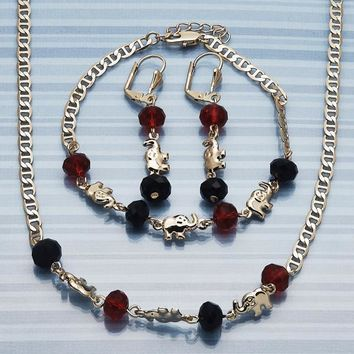 Gold Layered Women Elephant Necklace, Bracelet and Earring, with Garnet Crystal, by Folks Jewelry