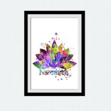 Yoga print Lotus namaste watercolor print Lotus namaste colorful poster  Yoga studio decoration Inspirational wall art decor  Wall art  W248