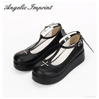 Custom Japanese Goth Lolita Cosplay Ankle T-strap Shoes Platform Heel Comfortable Roun