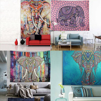 21 Designs Choose Elephant Tapestry Colored Printed Decorative Mandala Tapestry Indian Bohemia Boho Wall Carpet 130cmx150cm