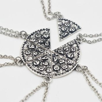 Slice Of Pizza Charms Choker 6 pcs Charms Antique Necklace For Women Vintage Food Chain Jewelry Best Friend Friendship Gift