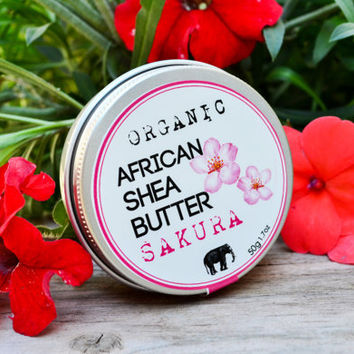 Organic Shea Butter with Japanese Sakura Essential Oil / Healing Cream / Naturally Refined Shea Butter / Homemade Body Butter/ Lanna Cafe