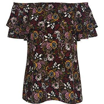 Choies Womens Red Off Shoulder Floral Leaves Print Ruffle Overlay Blouse Top