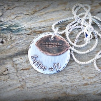 Football Necklace - Football shape - football charm - football player number necklace