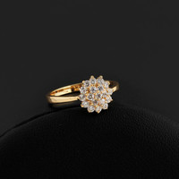 Luxury Real Gold Plated Full Crystal Dainty Princess Exaggerated Rings